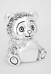 MONEY BOX BEAR WITH HEART TEDDY MONEYBOX GIFT SILVER KIDS BIRTHDAY BAPTISM + BRILLIBRUM® FLYER (Bear with engraving up to 15 characters)