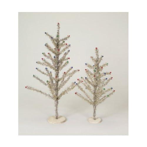 Pack of 4 Retro Santa Silver & Multi Colored Tinsel Christmas Trees   Unlit