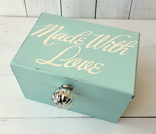 Aqua Recipe Box Holds 4 x 6 Cards with Hand Painted Made With Love and Round Silver Mercury Glass Knob (4 X 6 Metal Recipe Box compare prices)