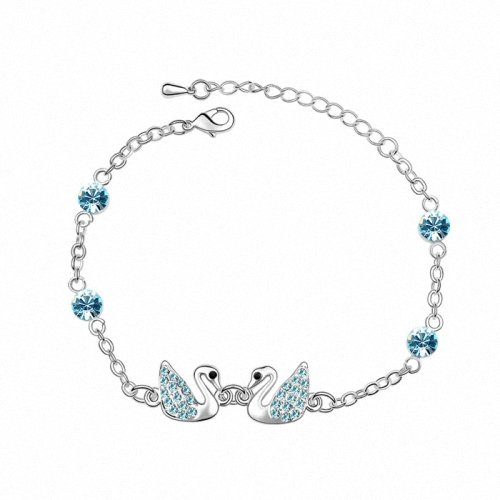 TAOTAOHAS- [ Search Name: Little Swan ] (1PC) Crystallized Swarovski Elements Austria Crystal Bracelet, Made of Alloy Plated with 18K True Platinum / White Gold and Czech Rhinestone
