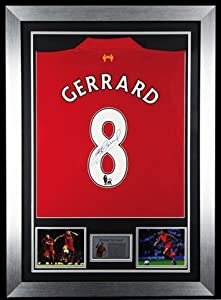 Signed Steven Gerrard Liverpool FC 2013 Framed Jersey Shirt - Memorabilia from MemorabiliaOutlet