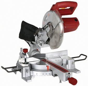 10 Inch Sliding Compound Miter Saw With 45° Bevel And 60 Tooth Carbide Blade, Dust Bag, Extension Bars And Table Clamp
