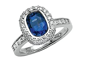 Sapphire Engagement Ring in Platinum 950 Size 7