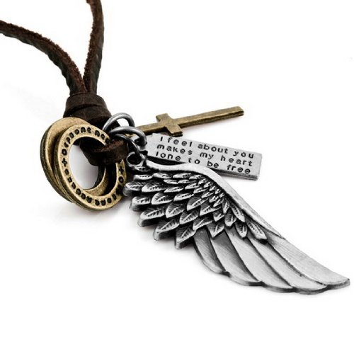 JBlue Jewelry men's Alloy Genuine Leather Pendant Necklace Adjustable Silver Gold Cross Angel Wing (with Gift Bag)