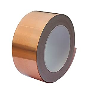 Copper Foil Tape (1inch X 66 FT) with Conductive Adhesive for Guitar & EMI Shielding, Slug Repellent, Crafts, Electrical Repairs, Grounding