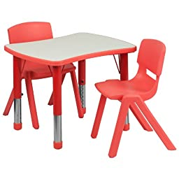 Flash Furniture Adjustable Rectangular Plastic Activity Table Set with 2 School Stack Chairs, 21.875 by 26.625-Inch, Red