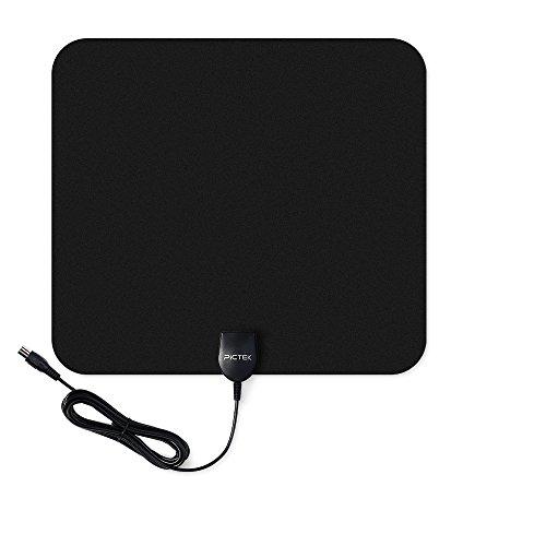 Pictek Antenne Intérieur TNT HD Puissante, Amplifiée 25dB/ Rayon de 80 km, Ultra Fine/ Plate. (Noir)