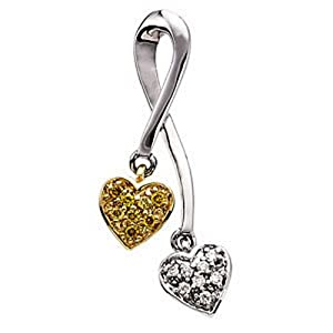 IceCarats Designer Jewelry .08 Ctw Natural Yellow And White Diamonds Double Heart Pendant