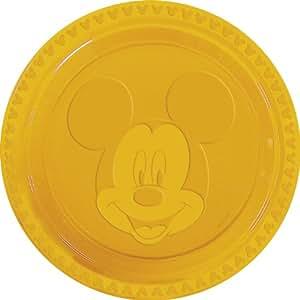 Disney Mickey Plastic Plates Embossed Large, Yellow