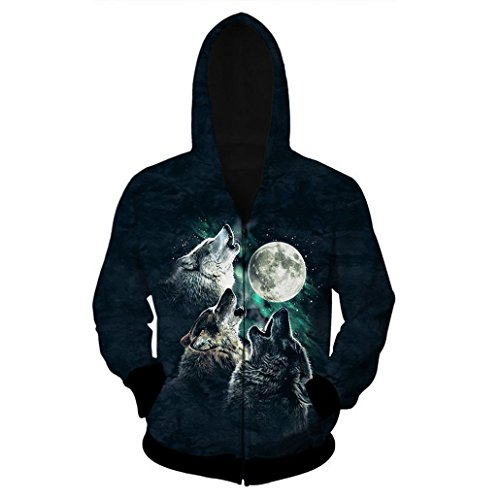 KSJK Unisex Couple 3D Printed Hoodie Coat Sweatshirt Wolf in March
