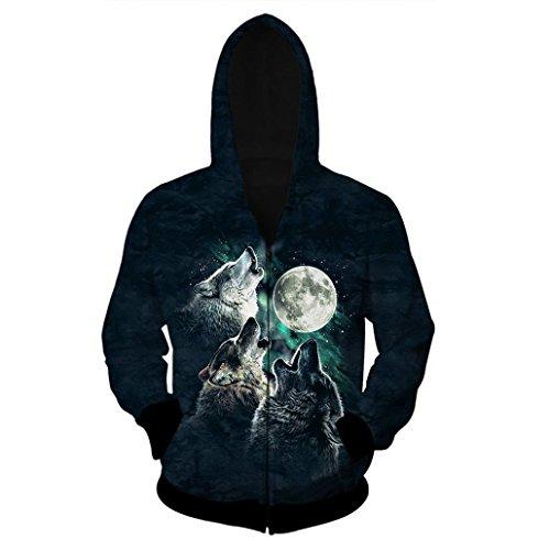 KSJK Unisex Couple 3D Printed Hoodie Coat Sweatshirt Wolf in March