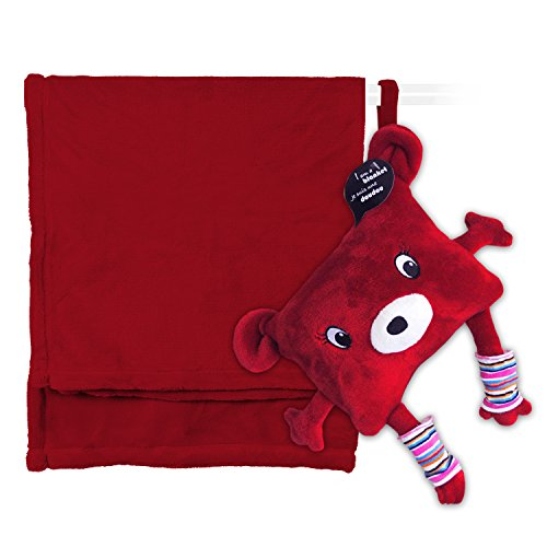 My Friend Huggles DodotoGo, Soft Baby Blanket Stored in a Huggable Pouch, Red