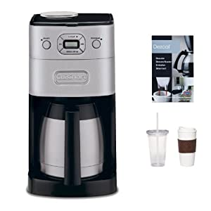 Cuisinart DGB-650BC Grind & Breww Thermal 10-Cup Automatic Coffeemaker Refurbished + 2-Pack Coffee Mug & Iced Beverage Cup + Accessory Kit