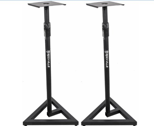 Package: Pair Of Brand New Rockville Rvsm1 Heavy Duty Near-Field Studio Monitor Stands W/ Adjustable Height For Use In Any Studio Environment