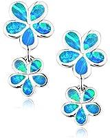 Dormith® women's 925 sterling silver synthetic fire opal inlay two flowers drop earrings