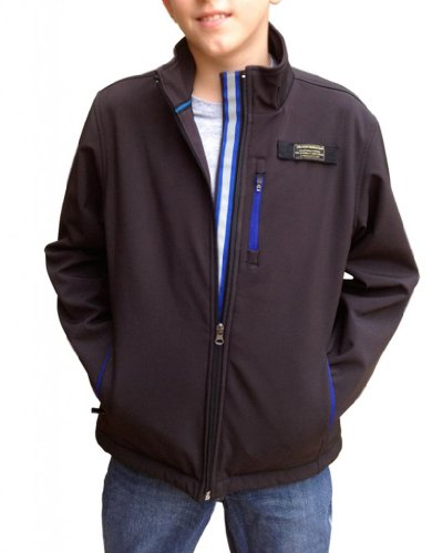 Baviera Boy'S Softshell Lightweight Jacket 12 Black With Blue Zippers