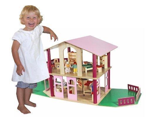 Lotta riesiges XL Puppenhaus Villa aus Holz + Möbel + Puppen 115x40x52cm