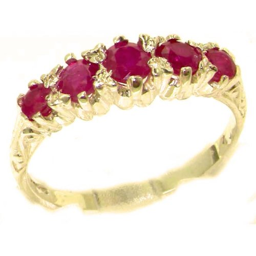 Antique Style Solid Yellow 9ct Gold Natural Ruby