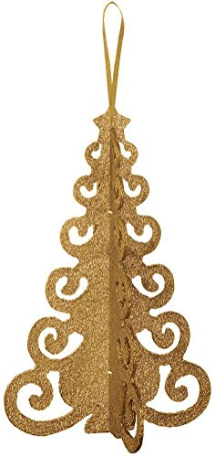 decorative 3d glitter tree gold