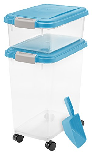 iris airtight pet food container combo kit blue moongray from iris usa inc