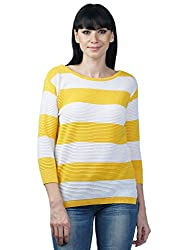 Women's Boat Neck 3/4 th Sleeve Striped Structured Top