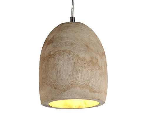 Lampadario a sospensione di forma ovale in legno in stile scandinavo, Lampadario da soffitto in legno naturale, lampadario ovale di legno - Ø18 cm, zoccolo E27