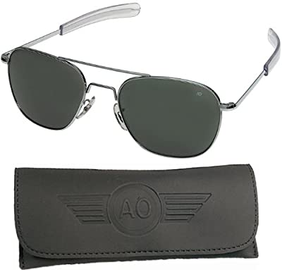 AO Flight Gear General Sunglasses, Comfort Cable, Silver Frame, Green Glass Lenses, 52mm,