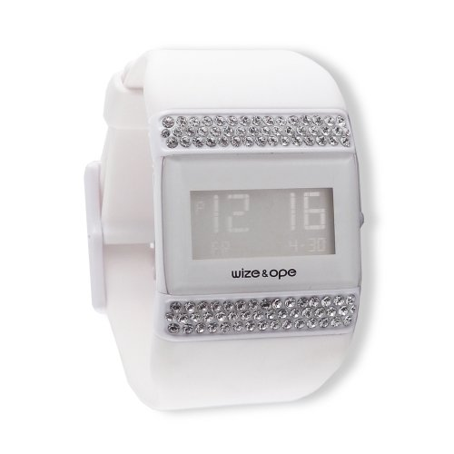 Wize & Ope Unisex All Over Strass Digital Watch WO-ALL-1S with White Dial and Touch Screen