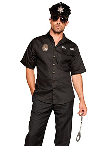 Mens Sexy Cop Costume 4 Piece Set with Black Shirt Badge Hat and Handcuffs