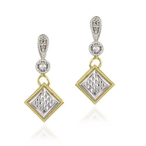 18K Gold over Sterling Silver Two-Tone Diamond Accent Diamond-Shape Dangle Earrings