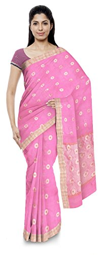 Akram Sarees Women's Kota Doria Handloom Cotton Silk Saree With Blouse Piece (Pink)