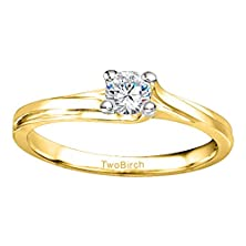 buy Two Tone Silver Bypass Solitaire Engagement Ring With Charles Colvard Created Moissanite (0.2 Ct. Twt.)