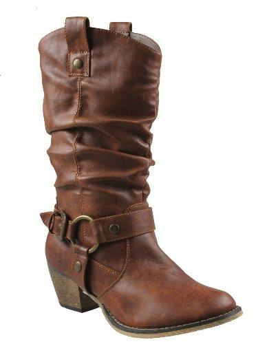 Refresh Women Wild-02 Western Style Cowboy Boots,Tan,8