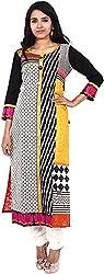 Touch Patiala Women's Cotton Regular Fit Kurta (Multi-Coloured, Large)