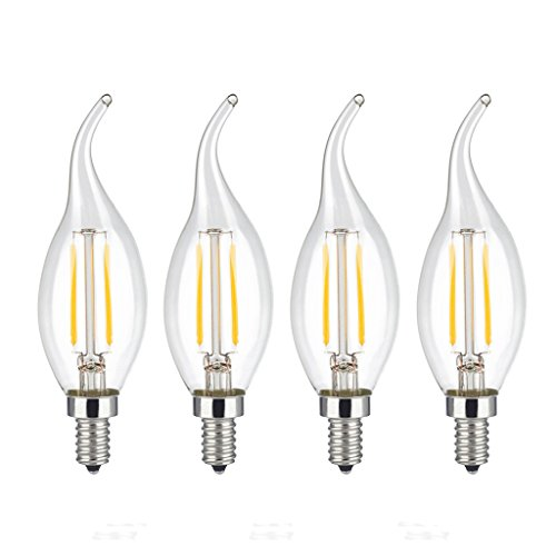 Mooncolour 2w LED Filament Candelabra Bulb,25-watt Equivalent,Warm White 2700k,Use in Chandeliers,Wall Sconces and Pendant Lighting,4 Pack (Filament Bulb 25w compare prices)