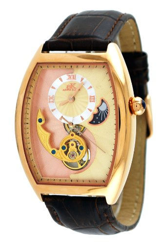 Adee Kaye #AK8024-MRG9 Men's Motif 3-D Sun Moon Partial Skeleton Automatic Watch