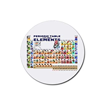 Rubber Round Coaster 4 Pack of Chemistry Periodic Table of Elements with Graphic Representations of Elements (Please be aware that smaller items are for a symbolic nature, and that the periodic table