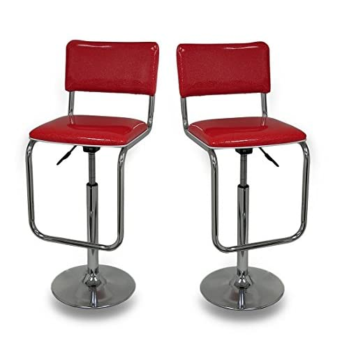 Red Glitter Retro Design Adjustable Swivel Diner Style Bar Stool Set of 2