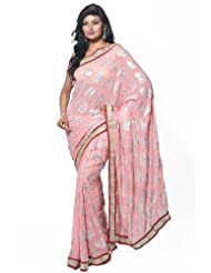 Utsav Fashion Women's Peach Faux Georgette Saree With Blouse