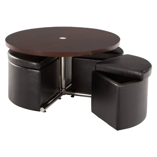 Standard Furniture Cosmo Adjustable Height Round Wood Top Coffee Table with 4 Storage Ottomans