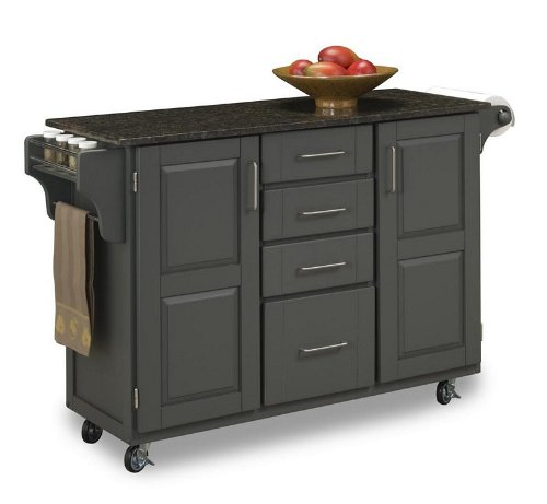 Cheap Kitchen Cart with Salmon/ Gray Granite Top in Gray Finish (VF_HY-9100-1085)