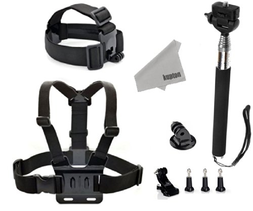 Kupton 9 In 1 Gopro Accessories Kit Set Include Elastic Adjustable Head Strap + Adjustable Chest Strap With J-Hook Mount +Extendable Handheld Monopod With Tripod Adapter + +3 Pcs Thumbscrew+ Kupton Superfine Fiber Cloth For Gopro Hd Hero 1 2 3 3+