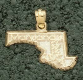 State of Maryland Pendant - 10KT Gold Jewelry
