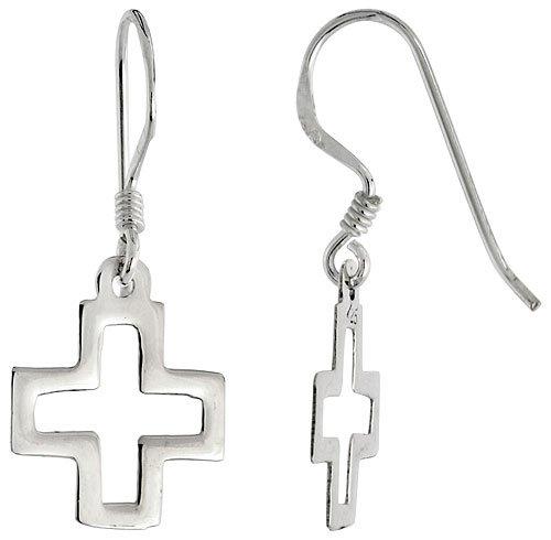 Sterling Silver Cross Cut-out Dangle Earrings, 5/8 inch (15 mm) tall