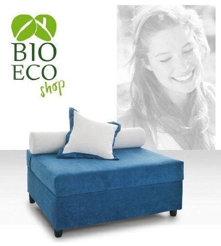 Bioecoshop Pouff Letto In Legno Multistrato Bioeco LMZ55 Mis Esterne Chiuso 88X106 Cm - Aperto 206X106 Cm Altezza 45 Cm Made In Italy
