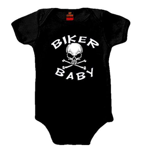 Hot Leathers Biker Baby Skull Onesie (Black, Newborn)