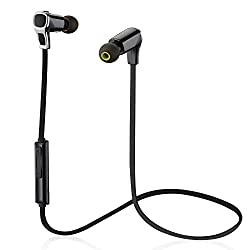 Mpow Swallow Wireless Bluetooth 4.1 Sports Headphones w/ Noise Cancelling, Hands-free Calling, Mic and High-fidelity Stereo Sound via apt-X,Black