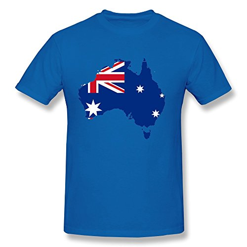 Facai Men'S Australia Flag Map Cotton T Shirt Xl Royalblue