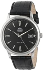 Orient Men's FER24004B0 Bambino Stainless Steel Automatic Watch with Black Leather Band