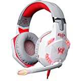 Qisan Over-ear Game Gaming Headphone Headset Earphone Headband With Mic Stereo Bass LED Light For PC Game(Red&...